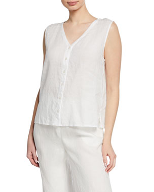 c85ad8dfabb48 Eileen Fisher V-Neck Button-Front Sleeveless Organic Linen Top