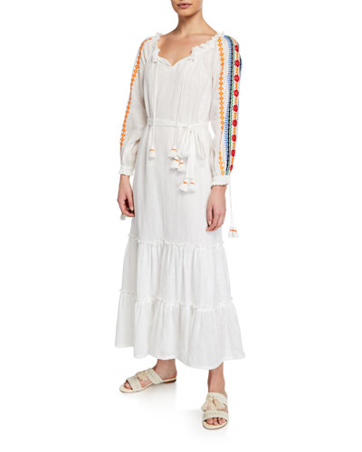 Embroidered Split-Neck Long-Sleeve Peasant Dress