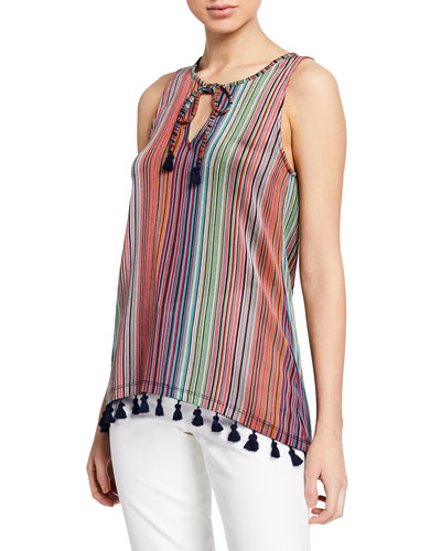 3edacdcb44456 Aeriel Daybreak-Stripe Sleeveless Raschel Knit Top