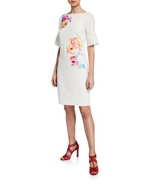 5eded12f Trina Turk Sojourn Bateau-Neck Short-Sleeve Sheath Dress w/ Embroidery