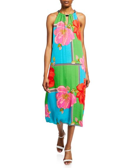 Trina Turk Roe Fly Over Halter Floral Midi Dress