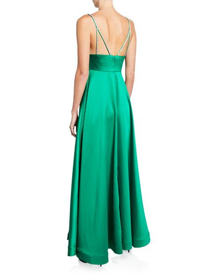Jovani V-Neck Jewel-Strap A-Line Satin Gown