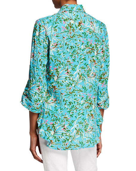 Finley Agetha Kyoto Floral-Print Button-Front Shirt