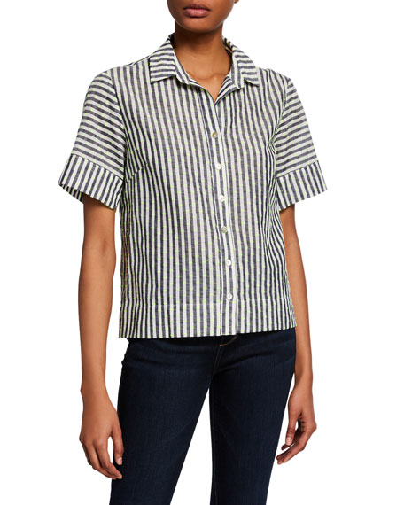 Finley Theo Striped Button-Down Short-Sleeve Shirt