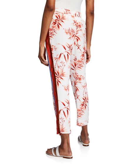 Joie Quisy Floral-Print Cropped Straight-Leg Pants