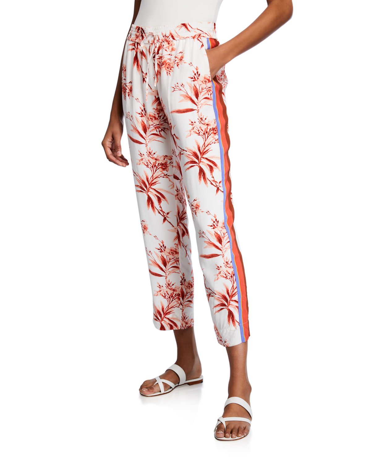 388a48df9dd73b Joie Quisy Floral-Print Cropped Straight-Leg Pants | Neiman Marcus
