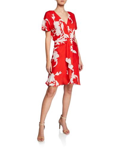 Ashleena V-Neck Short-Sleeve Dress w/ Draped Ruffle