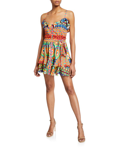 Sirsha Printed Ruffle Short Dress
