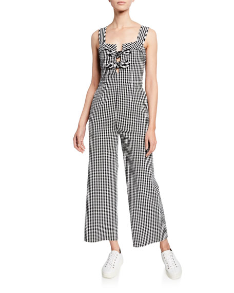 Tanya Taylor Rosalind Gingham Sleeveless Wide-Leg Jumpsuit
