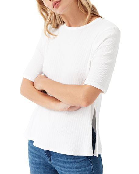 3x1 Sasha Crewneck Short-Sleeve Knit Top