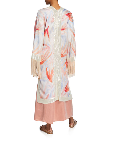 Forte Forte Panarea-Print Silk Fringe Kimono