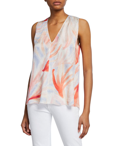 Forte Forte Printed Satin Sleeveless Top