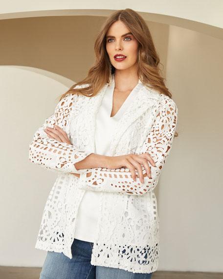 Misook Plus Size Long-Sleeve Open Lace Blazer