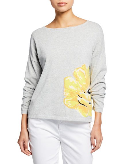 Joan Vass Sweaters LONG-SLEEVE FLOWER INTARSIA COTTON SWEATER