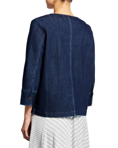 Joan Vass Petite Snap-Front Denim Jacket