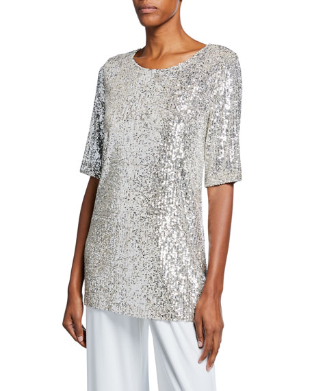 Caroline Rose Petite Sequin Knit Half-Sleeve Easy Tee