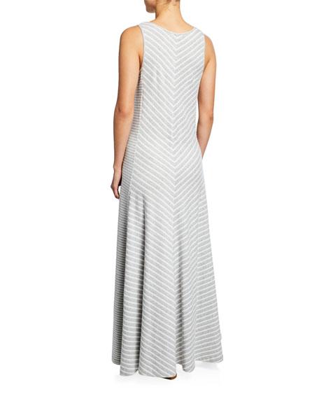 Joan Vass Petite Striped Sleeveless V-Neck Maxi Dress