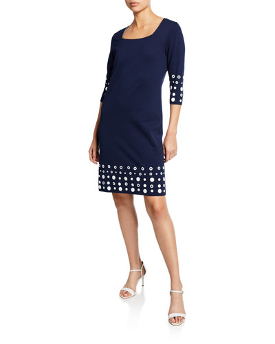 Square-Neck 3/4-Sleeve Interlock Dress with Circle Border Trim