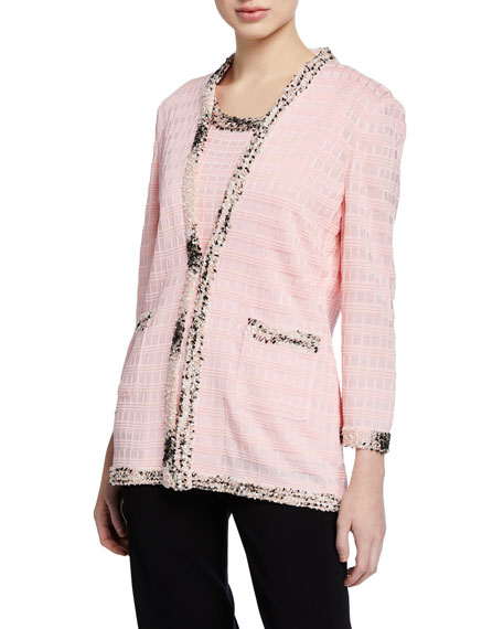 Misook Petite Textured Jacket with Tweed Trim