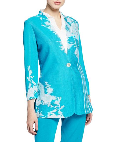 Misook Petite Floral-Print One-Button Long Jacket