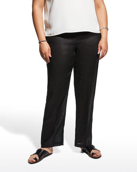 Caroline Rose Plus Size Linen Straight-Leg Pants