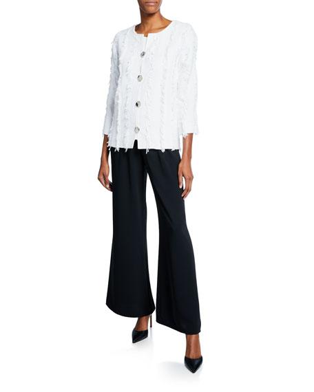 Caroline Rose Glamour Fringe Button-Front Boxy Jacket