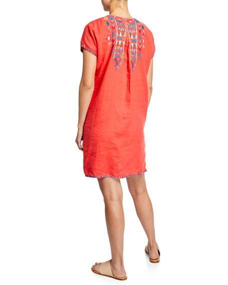 9d3a895c Johnny Was Petite Etienne Embroidered Short-Sleeve Easy Linen Tunic Dress  In Hawaiian Fruit