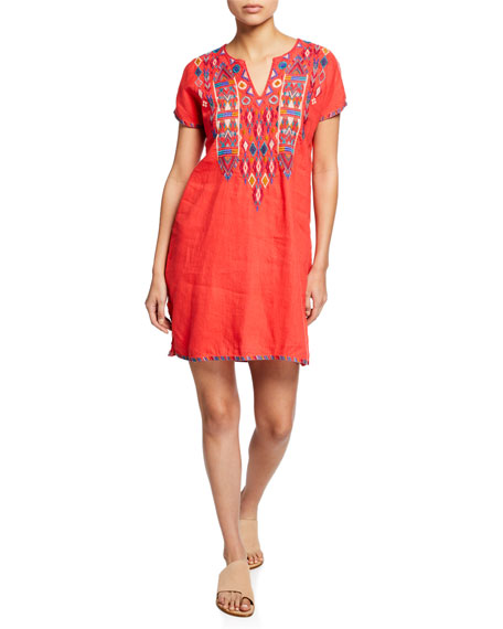 Johnny Was Dresses PETITE ETIENNE EMBROIDERED SHORT-SLEEVE EASY LINEN TUNIC DRESS