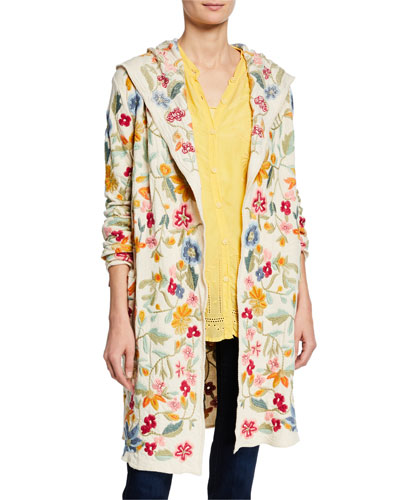 14b5282a1f0 Plus Size Floral-Embroidered Open-Front Hooded Duster