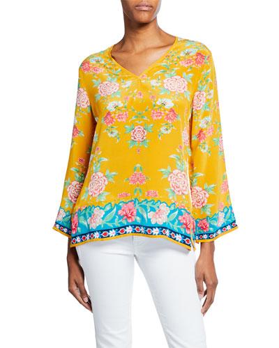 Plus Size Simone Saffron-Print V-Neck Long-Sleeve Silk Tunic