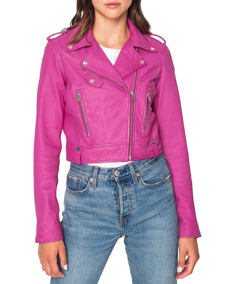 LaMarque Ciara Cropped Leather Moto Jacket | Neiman Marcus