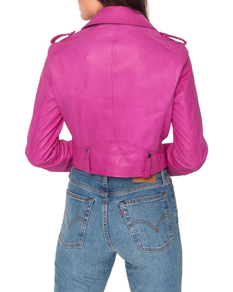 LaMarque Ciara Cropped Leather Moto Jacket
