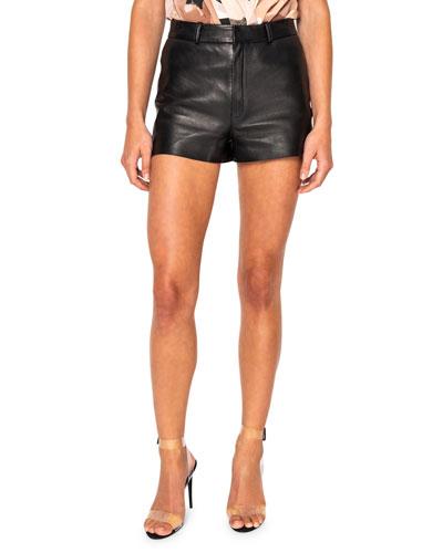 Garnet Raw-Edge Leather Shorts