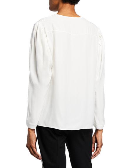 Nanette Lepore V-Neck Long-Sleeve Silk Charmeuse Top