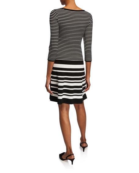 Nanette Lepore Striped Scoop-Neck 3/4-Sleeve Sweater Dress