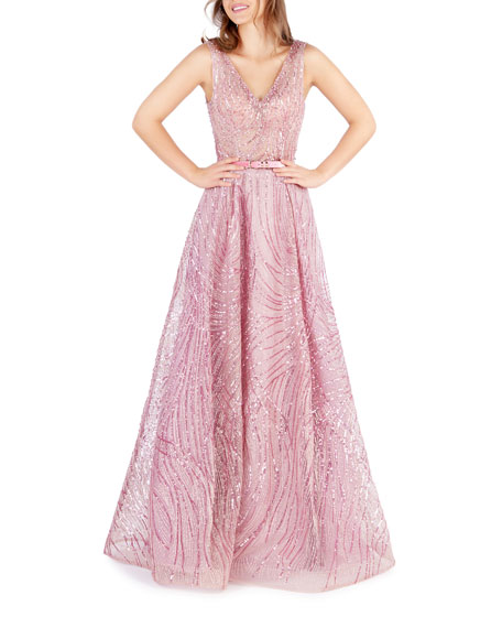 Mac Duggal Sequin Embellished V-Neck Sleeveless Gown with Belt