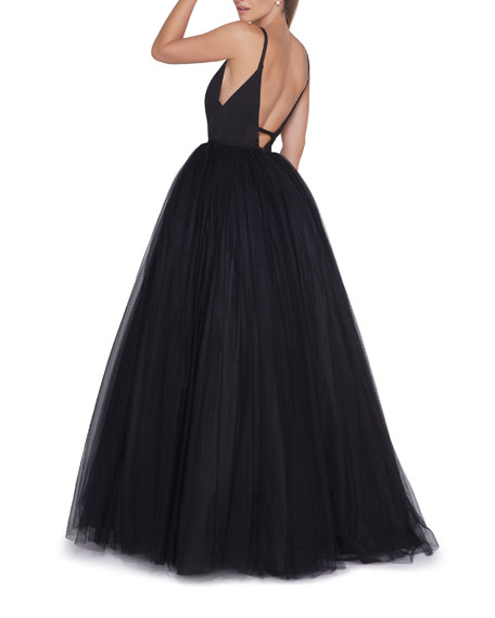 Image 2 of 2: Ieena for Mac Duggal Plunge-Neck Strappy Tulle Ball Gown