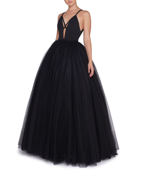 Image 1 of 2: Ieena for Mac Duggal Plunge-Neck Strappy Tulle Ball Gown