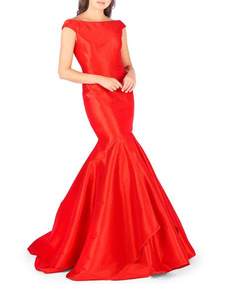 Mac Duggal Off-the-Shoulder Satin Mermaid Gown