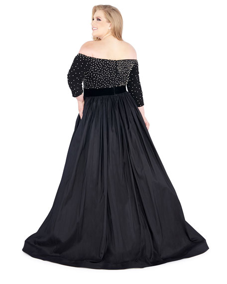 Mac Duggal Plus Size Off-the-Shoulder 3/4-Sleeve Gown w/ Jersey Bodice