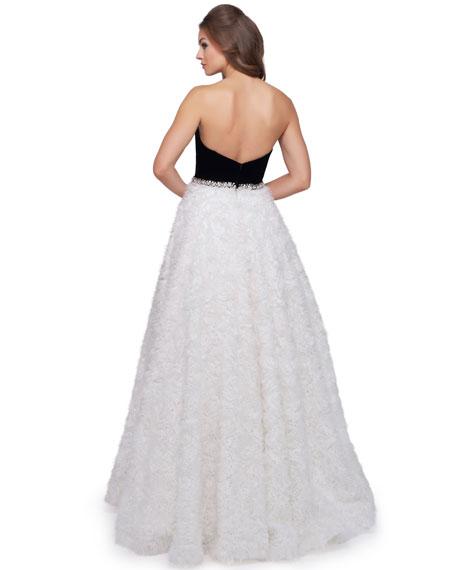 Mac Duggal Strapless Ball Gown with Velvet Bodice & Textured Ribbon Skirt