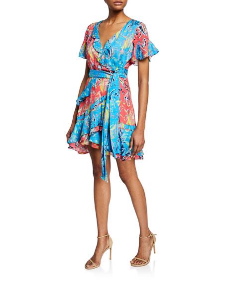 Tanya Taylor Dresses BIANKA PRINTED RUFFLE SHORT WRAP DRESS