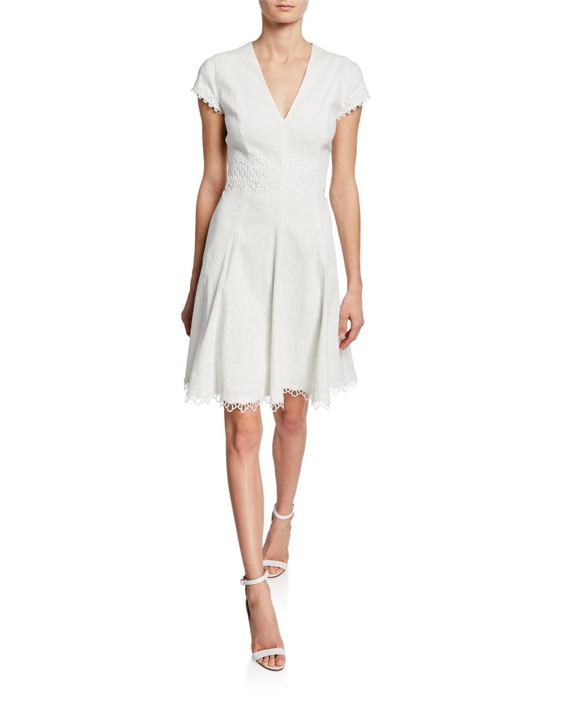 05c8d0ba3b4c3 Elie Tahari Maia V-Neck Cap-Sleeve Dress w/ Lace-Trim | Neiman Marcus