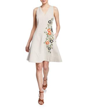 3a2af96ed016 Elie Tahari Londa V-Neck Sleeveless Fit-and-Flare Linen Dress