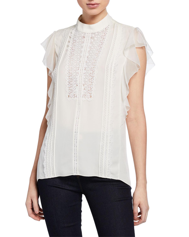c3b72e3145dc Elie Tahari Antoinette Mock-Neck Ruffle-Sleeve Blouse with Lace ...