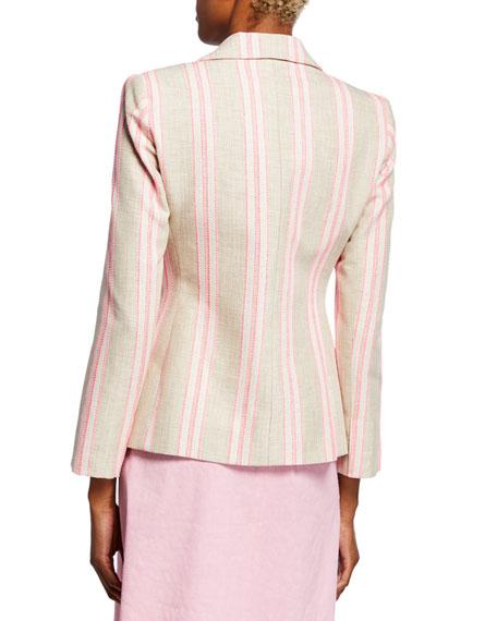 Elie Tahari Sasha Striped Jacket with Embroidery