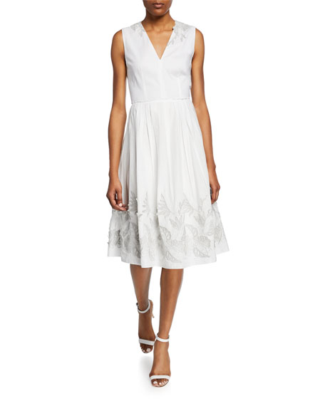 Elie Tahari Astrid Sleeveless A-Line Midi Dress