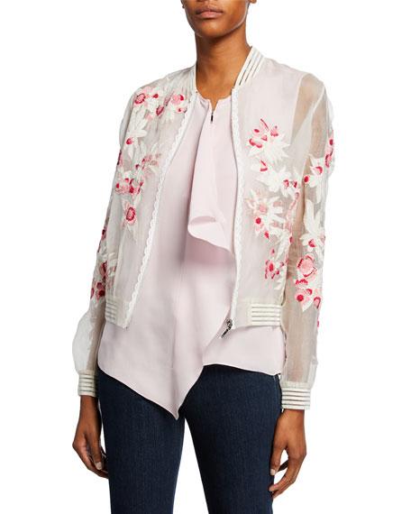 Elie Tahari Brandy Embroidered Silk Bomber Jacket