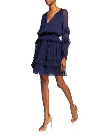 Diane von Furstenberg Haven Drop-Waist Ruffle Dress