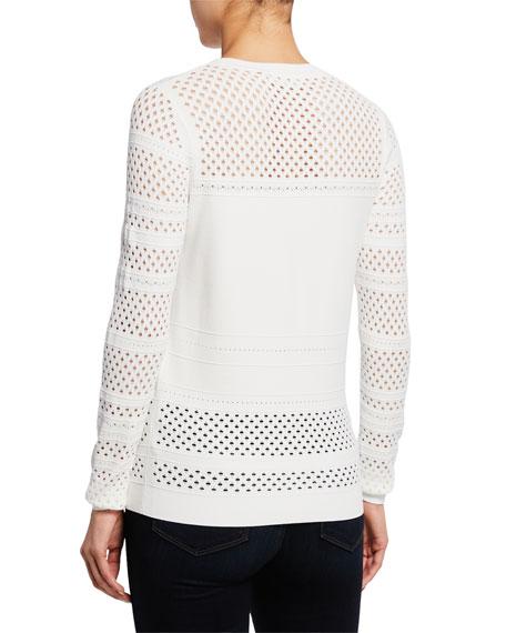 Diane von Furstenberg Fontanne Open-Stitch Crewneck Long-Sleeve Sweater